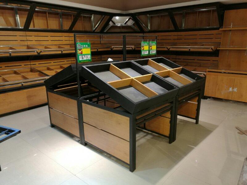 超市钢木结合货架